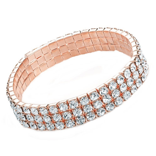 Sparkly Rose Gold Crystal Stretch Bracelet