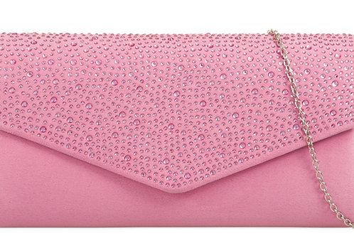 Light Pink Velvet Effect Clutch bag Rhinestones
