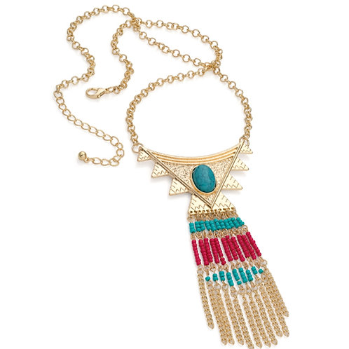 Long Gold Seed Beed Boho Tribal Necklace