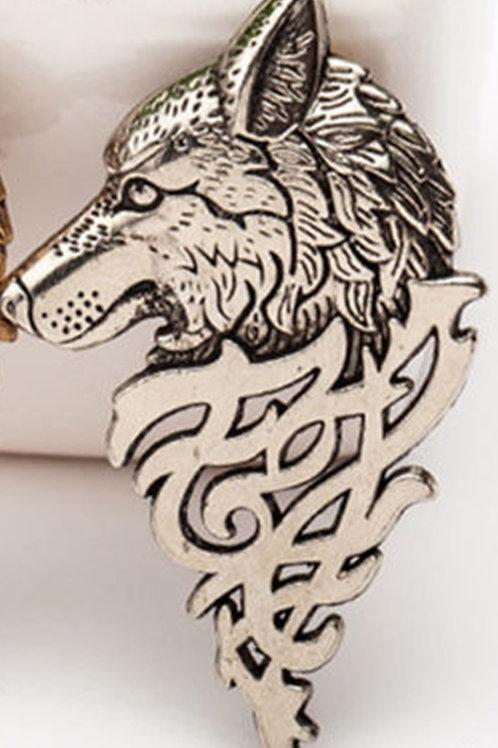 Silver Look Nordic Wolf Head Pin brooch