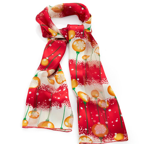 Red bauble christmas satin scarf