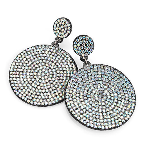 Womens Blingy Black fabric AB crystal round earring