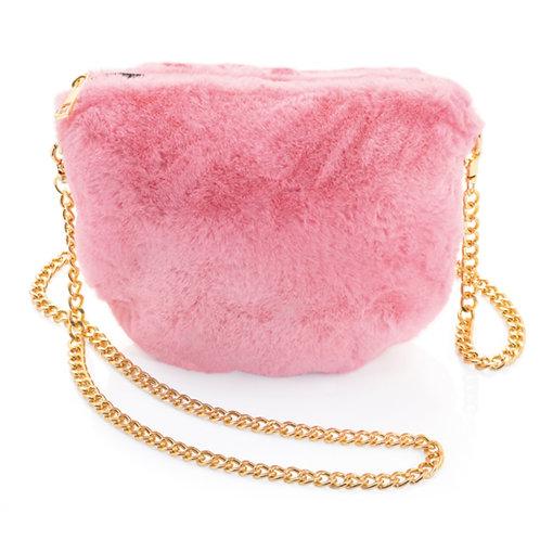 Womens Pink Small Furry Cross Body Messenger Bag