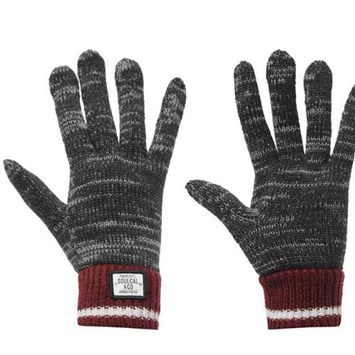 Mens Grey Burgundy Soulcal Winter Gloves
