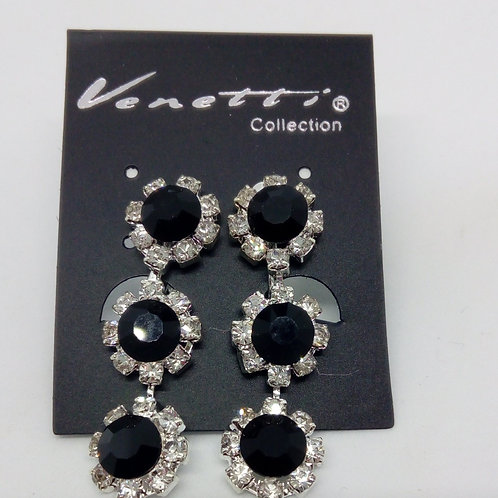 Silver Crystal Three Row Black Jewel Clip on Earrings