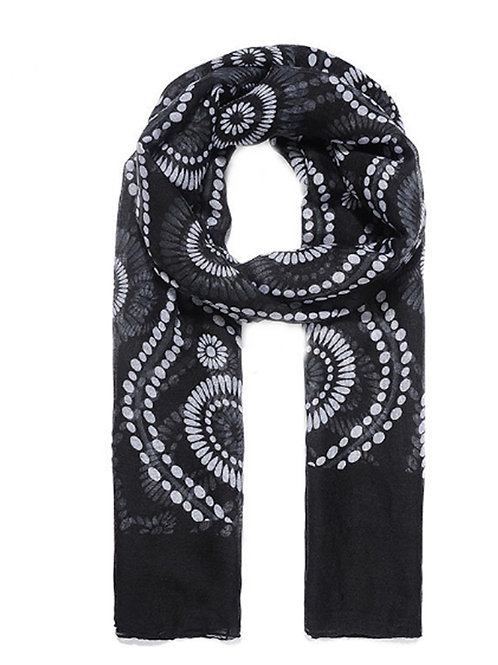 Unisex Black Swirly Print Fashion Scarf
