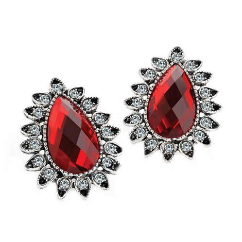 Ladies Glam Teardrop Shape red Jewelled Earrings