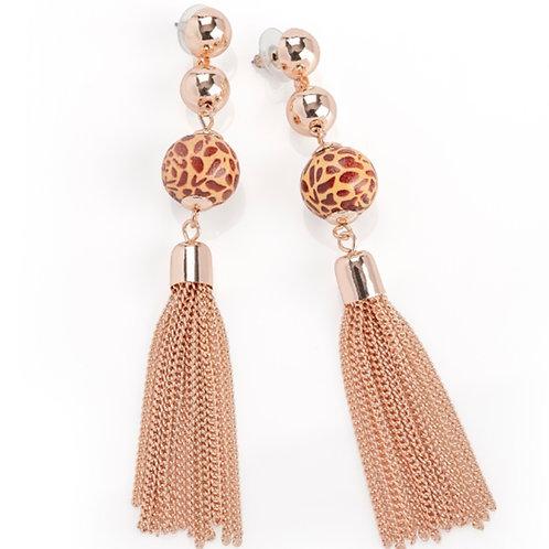 Gold chain tassel animal print drop earrings