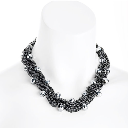 Womens Hematite Colour Bead Twisty Chain Statement Necklace