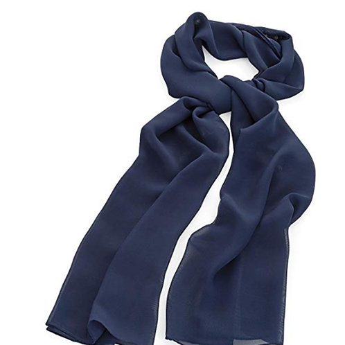 Navy Blue Chiffon Look Fashion Scarf