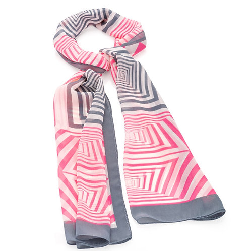 Pink Grey Geometric Scarf