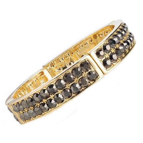 Womens Gold Elasticated Bracelet Hematite Stones