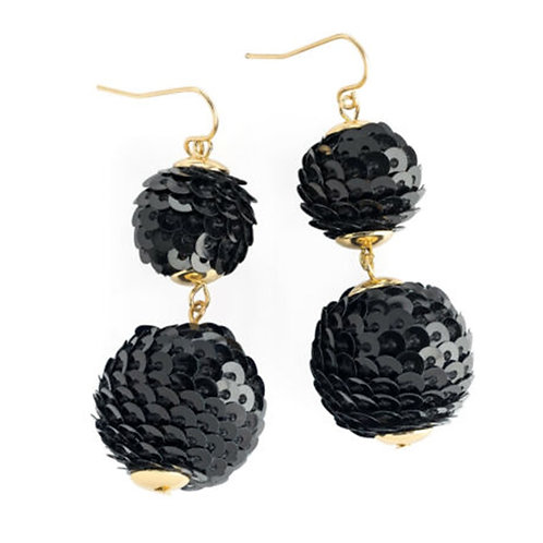 Glam Black Sequin Bauble Drop Earrings