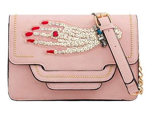 Pink Faux Leather Cross Body Bag Sequin Hand