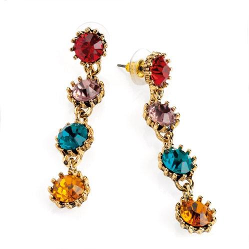 Womens Multi Jewel Crystal Bead Drop Dangly Earrings