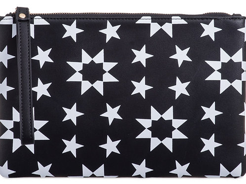 Black and White Star Clutch Pouch Bag