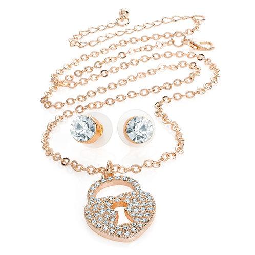 Rose Gold Colour Padlock Necklace set