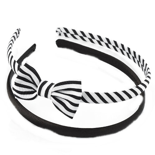 Girls Two Piece Black White Hair Band Set