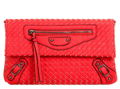 Womens Large Red Woven Effect Clutch bag