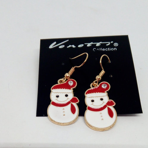 White Snowman Christmas Earrings