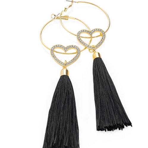 Long black gold crystal heart tassel earrings