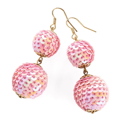 Sparkly Pink Bauble Sequin Drop Earrings