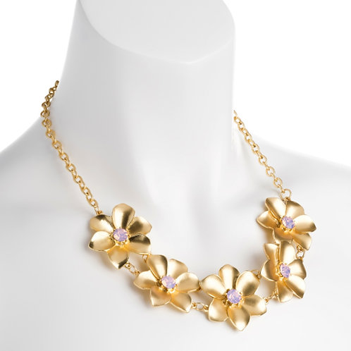 Gold Colour Pink Jewelled Flower Necklace