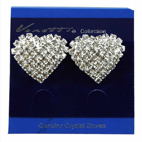 Womens Crystal Heart Shaped Clip on Earrings