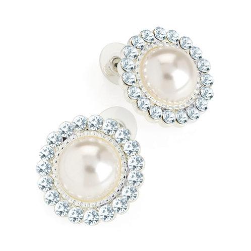 Cream Pearl Round Crystal Stud Earrings