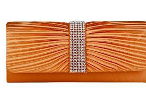 Orange Pleated Satin Clutch Bag with Crystals