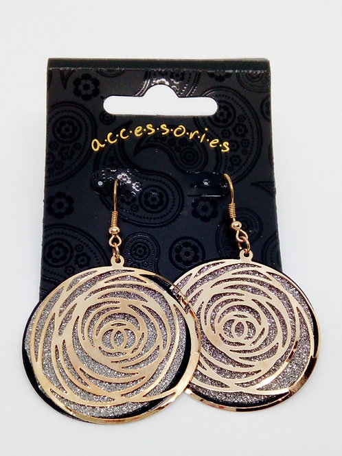 Womens Gold Silver Gliter Cut out Swirl Earrings