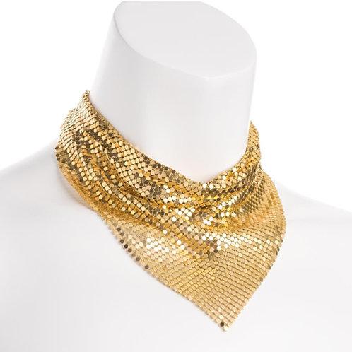 Gold Chain Mail Neckerchief Style Retro Necklace