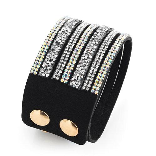 Womens Black Rhinestone Crystal Wrap Bracelet