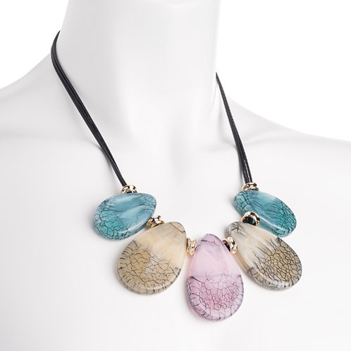Pastel Marble Effect Bead Droplet Necklace