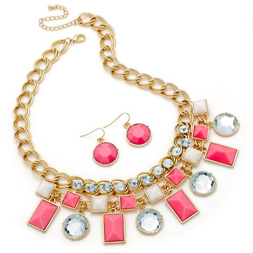 Womens Pink Clear Bead Droplet Necklace Earring Set