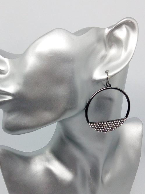 Dark Silver Crystal Hooped Earrings