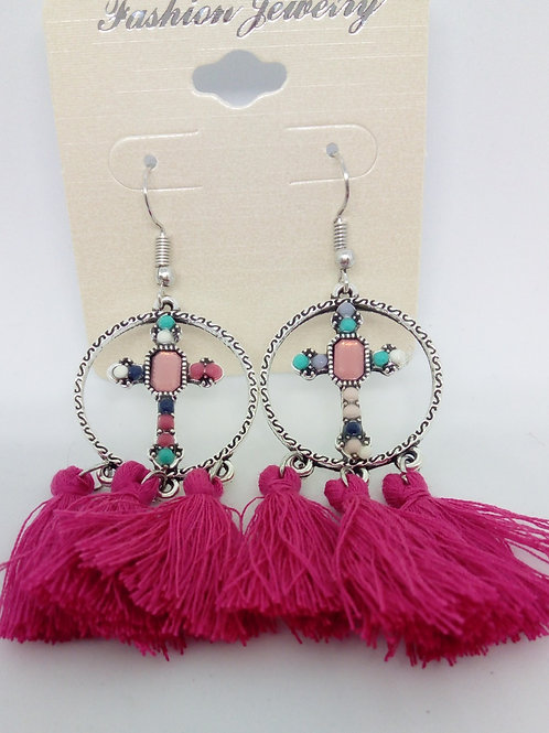 Fuchsia Pink Tassel Earrings Cross Detail