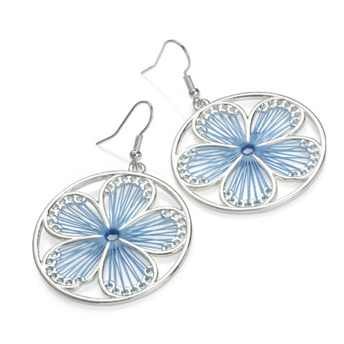 Womens Silver Blue Cut out Flower Drop Earrings