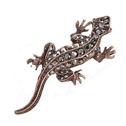 Sparkly Hematite Colour Jewelled Lizard Brooch