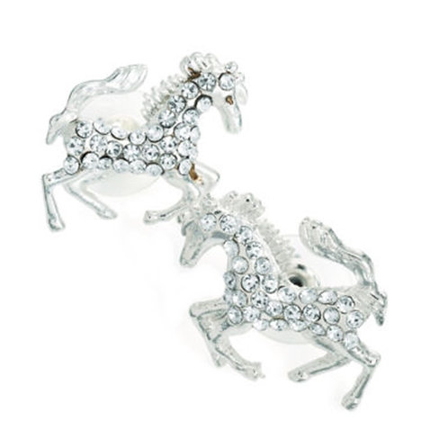 Tiny Silver Look Horse Stud Earrings