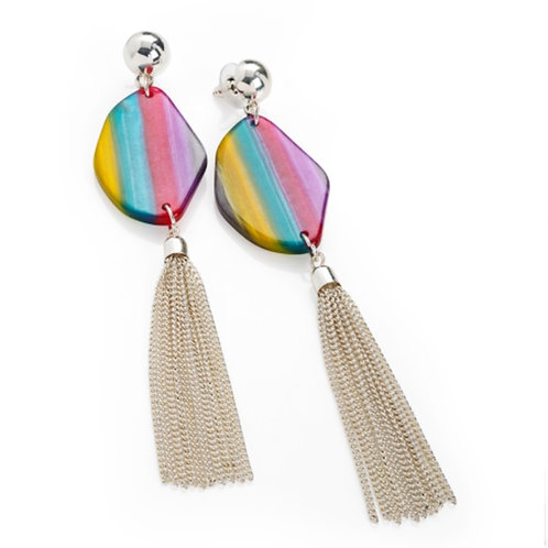 Multi Colour Long Drop Silver Tassel Earrings