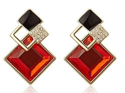 Small Geometric Fashion Jewelled Earrings - Red