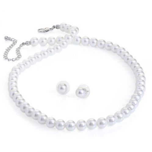Womens White Pearl Bead Necklace stud earring set