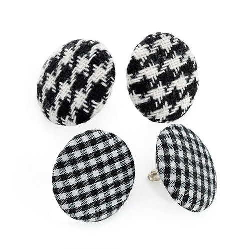 Two Pairs Black Checked Houndstooth Stud Earrings