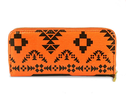Orange Oilcloth Neon Purse Aztec Pattern