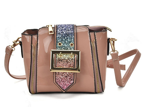 Mini Small Pink Patent Glitter Panel Cross Body Bag