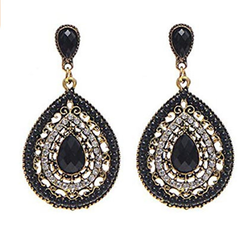Womens Black Bead Oval Dangly Earrings