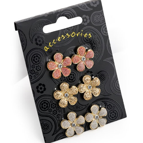 Set of Three Glittery Flower Stud Earrings