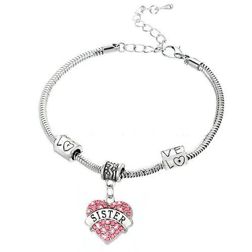 Silver Sister Charm Slogan Bracelet