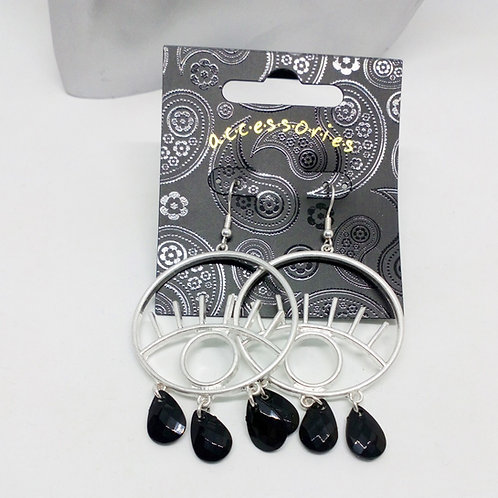 Quirky Silver Eyes and Lashes Black Bead Dangly Earrings